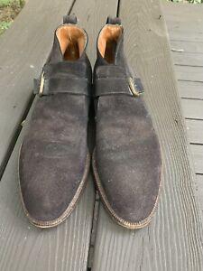 Salvatore Ferragamo Men's Boots Brown Suede Buckle Strap Sz 9.5 D Italy