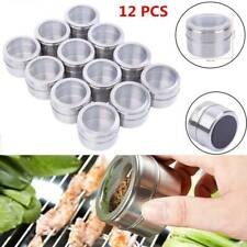 12Pcs Stainless Steel Magnetic Spice Sauce Container Jar Rack Tins Holders Box