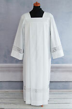 ALB Latin Cross and IHS Lace Catholic Square Neck ALB Cotton Blend