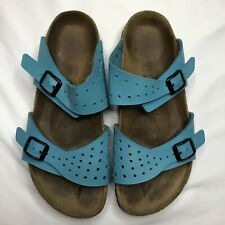 Birkenstock Birkis Womens 38 US 7-71/2 Blue Leather Sandals