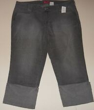ELLE STRETCH CROPPED CUFFED JEANS MISSES SIZE 16 AVERAGE - LIGHT GRAY - NWT