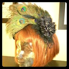 HANDMADE Peacock feather headband with Rose and sequins