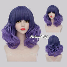 Lolita Mixed Purple Ombre Neat Bang 40CM Curly Medium Women Party Cosplay Wig
