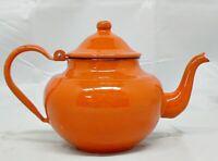 ORANGE ENAMELWARE SMALL TEA POT / COFFEE POT