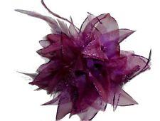 Fleur en tissus bordeaux N°8, accessoire de mariage
