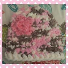 Baby Girl Pretty Pink Hand Knit Hat 0-3 Months Brand New