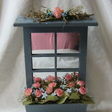 Rose Blue Mirrored Flower Box Wall Laundry Decoration Artificial Flowers Wood