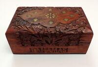 Vintage Inlay Wooden Box Souvenir Bahamas Trinket Velvet Lined Carved Floral