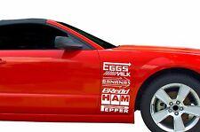 Funny Sponsors Racing JDM Off Road Drift Car Window Vinyl Sticker Decal set of 6