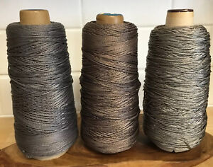 Silk Sewing Applique Braided Thread 3pc Lot Cone Spools Gray Taupe Mixed Neutral