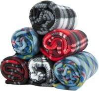 6 Pack of Pet Blankets - 24 x 28 Checkered 100% Soft Poly Polar Fleece Dog Throw