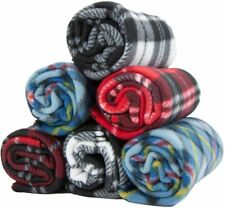 6 Pack of Pet Blankets - 24 X 28 Checkered 100 Soft Poly Polar Fleece Dog Throw