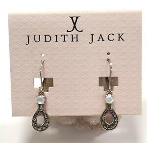 Judith Jack Sterling Silver Marcasite Dangle Drop Earrings