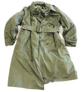 VTG 1952 US Army Trench Coat Removable Wool Liner Green Korean War Short Medium
