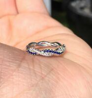 1ct Round Blue Sapphire Twisted Infinity Wedding Band Ring 14k White Gold Finish