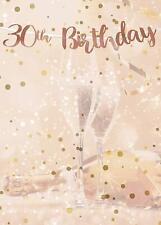 LARGE 30th Cream & Rose Gold Happy Birthday Metallic Card Backdrop Banner  1 m