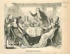 Salon de Madame Roland girondin Paris GRAVURE ANTIQUE OLD PRINT 1873