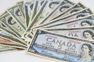 Canada $1 $2 $5 Currency Notes 16 Asst Notes 23374