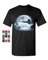 Yin & Yang Wolves T-Shirt Animals Wildlife Nature Wolf Pack Moon Mens Tee Shirt