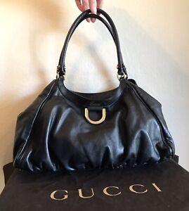Gucci Black Leather Abbey Handbag Medium Abby Stirrup Hobo Shoulder Tote Bag