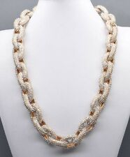Chunky Pave Classic Link Chain Gold Necklace J Style with 4,500+ Crystals