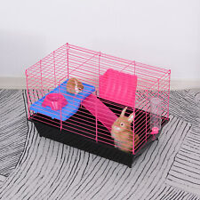 PawHut Small Animal Cage Rabbit Guinea Pig Hutch Pet Play House w/ Ramp Platform