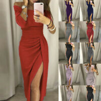 Charming Women Off Shoulder High Slit Bodycon Dress Long Sleeve Party Dresses