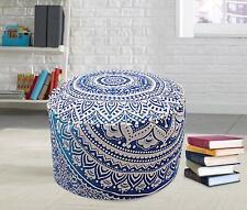 Mandala Pouf Cover Ottoman Cotton Floor Pillow Hippie Boho Home Decor Footstool