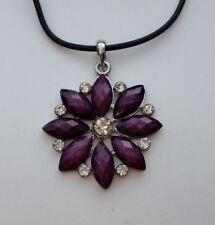 Kautschukkette Anhänger Blume 4,5 cm lila Strass-Stein kristallklar *NEU*