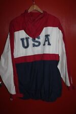 Chaps Ralph Lauren USA Red White Blue Men's Windbreaker Hoodie Jacket Size XL