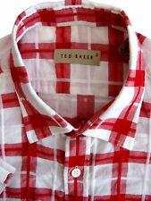 TED Baker Camicia Da Uomo 15.5 M Bianco-Rosso controllare manica corta