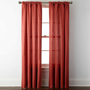 """JCPENNEY HOME COLLECTION TAB CURTAIN DRAPES Burgundy 41/"""" x 84/"""" red wine  lined"""