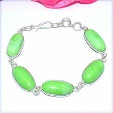 Plated Bracelet Bb76 Green Chalcedony Gemstones Silver