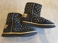 Golddigga size 5 (38) black faux suede gold studded fur lined ankle boots