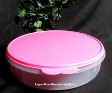 """Tupperware NEW Pie Cookies Pizza Container 12"""" Large Round Pink Seal"""