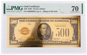 1928 $500 24KT Gold Certificate Commemorative PMG 70 Gem Unc