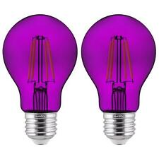 2-Pack Sunlite LED Transparent Purple A19 Filament Bulbs, 4.5 Watts, Dimmable