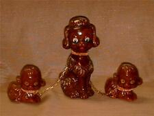 Vintage Japan Poodle Dog w/ 2 Puppies on a Chain Figurine-Brown-Red Ware-Cute