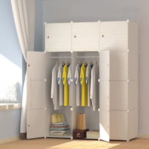 Portable Wardrobe with Wood Grain Pattern Closet for Hanging Clothes Armario New