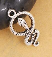 10 Snake charms antique silver tone Snakes Pendants 23mm