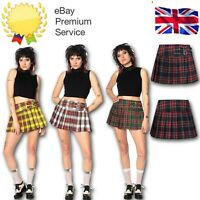 Black Green Red Tartan Check Gothic Punk 80s Mini Pleated Skirt BANNED Apparel