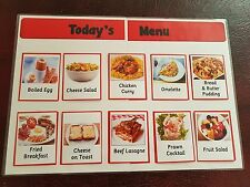 DAILY MENU BOARD + 110 MEAL CARDS- BREAKFAST/LUNCH/DINNER ITEMS - CARE HOME/ SEN