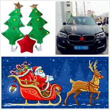 2Pcs Cute Christmas Tree+1Pcs Red Star Style Car Funny Decoration Gift Universal