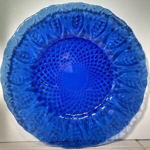 """3 Cris D'arques Durand ANTIQUE SAPPHIRE BLUE 7-3/4"""" Salad Plates"""