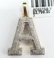 10k Real Yellow Gold Genuine Diamond Alphabet Initial Charm Pendent A Letter