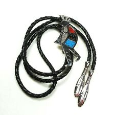 Vintage Southwest Style Kokopelli Bolo Neck Tie Blue Red Turquoise Chips SW95