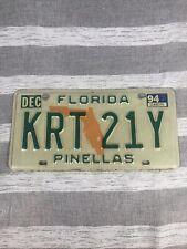 Vintage Florida License Plate Pinellas KRT 21Y 1994 WoW Look Car Tag