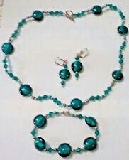 Green Glass Beads Necklace, Bracelet & Pierced Earrings Set - Artisan Made