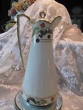 """Large 10.5"""" Tulips Hand painted Made in Japan Cocoa/Tea/Coffee Pot Sleek design"""