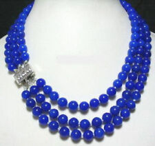 Natural 3 Rows 8mm Lapis lazuli Beads Crystal Clasp Necklace 17-20Inch JN1727